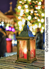 Lantern with the candle inside at the Riga Christmas Market...
