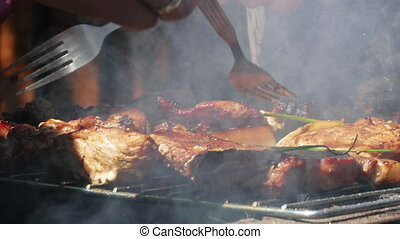 Pork Meat Steak on Barbecue Grill - Close up of Pork Meat...