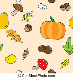 Seamless Background with Fall leaves. fruits and Mushrooms