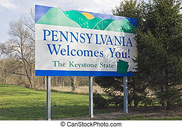 Pennsylvania Welcome Sign - spring time
