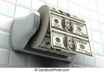Monetary Inflation - Roll of $100 bills on a toilet paper...