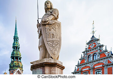 Statue of Roland in old town of Riga - Statue of Roland on...
