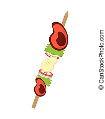 delicious meat skewer icon vector illustration design