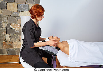 Head massage woman with physiotherapist - Head neck and...
