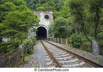 Railroad tunnel Psyrtsha station in New Athos, Abkhazia