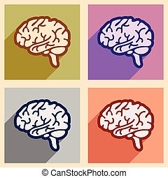 Icons of assembly human brain in flat style