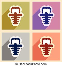 Icons of assembly artificial tooth in flat style