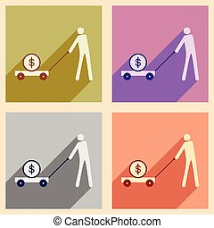 Modern flat icons vector collection with shadow Stick Figure economy