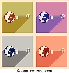 Modern flat icons vector collection with shadow Globe key money