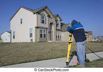 Residential Land Surveying - working with total station.