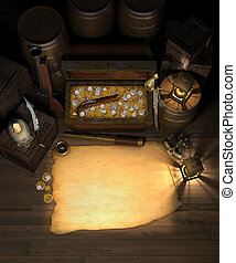 Pirate Treasure and map - Pirate treasure in the hold of a...