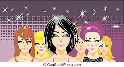 Beautiful women friends at nightclub concept. Illustration,...