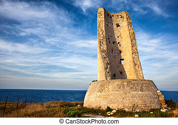 Torre del Serpe (or Torre dell'Idro) at Sunset. An Ancient...