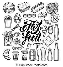 jeûne, nourriture, ensemble
