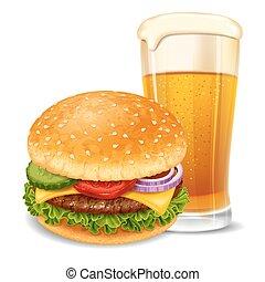 Hamburger and beer - Big tasty hamburger with beer glass....