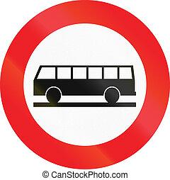 Belgian regulatory road sign - No buses.