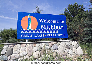 Michigan Welcome Sign - summer time.