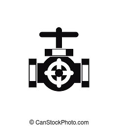 Pipe with a valves icon, simple style
