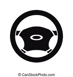 Steering, wheel icon, simple style - icon in simple style on...