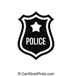 Police badge icon, simple style - icon in simple style on a...
