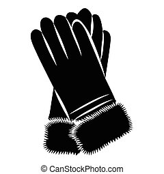 Winter gloves icon, simple style - icon in simple style on a...