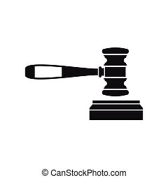 Judge gavel icon, flat style - icon in simple style on a...