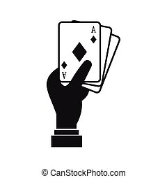 Hand holding playing cards icon, simple style - icon in...