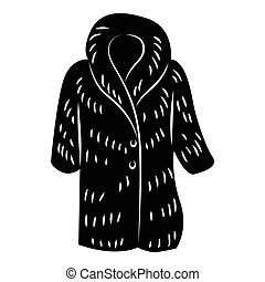 Fur coat icon, simple style