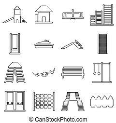 Children playground icons set, outline style - Children...