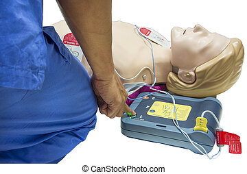 cpr and aed selective focus finger
