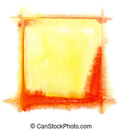 Yellow-red watercolor frame - Yellow - red square watercolor...