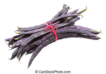 Fresh purple string beans tied red ribbon isolated on white...