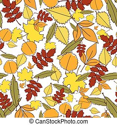 Autumn leaves Seamless backgroundNatural elements pattern...