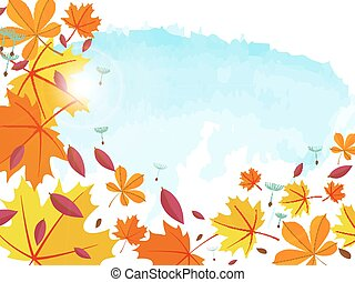 Autumn background Frame for text decorated with autumn...
