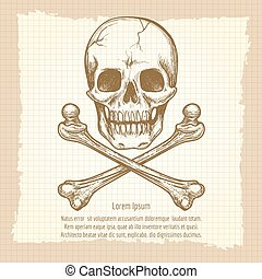 Skull crossbones and place for text - Hand drawing skull and...