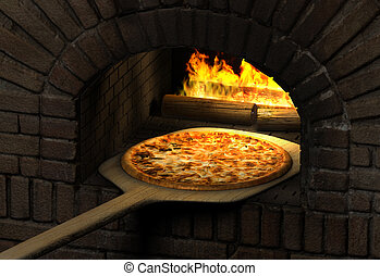Pizza Oven - Pizza resting on a wooden spatula inside a sood...
