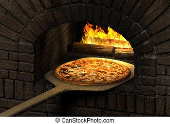 pizza, horno