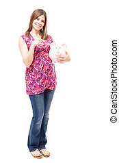 Saving some money during pregnancy - Full length view of a...