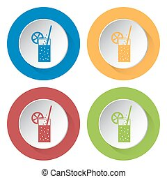 set of four icons-carbonated drink, straw, citrus