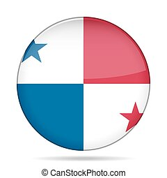 button with flag of Panama - button with national flag of...