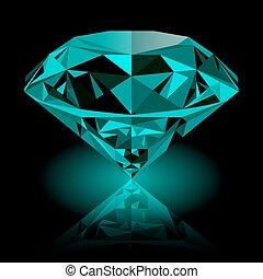 Realistic shining green emerald jewel