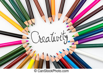 Colouring pencils in circle arrangement with message Creativity