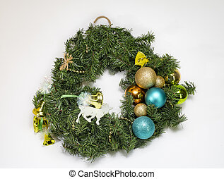 Christmas decorations - Christmas wreath from a tree on a...