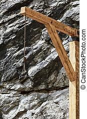 madeira, antigas, forca