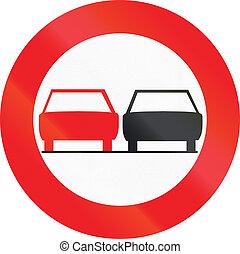 Belgian regulatory road sign - No overtaking.
