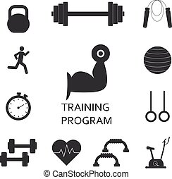 Vector Set of training program icons. Sport, fitness, gym workout