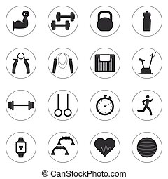 Vector Set of sport and fitness icons. Sport, fitness, gym...