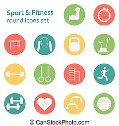 Vector Set of sport icons. Sport, fitness, gym workout -...