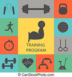Vector Set of training program icons. Sport, fitness, gym...