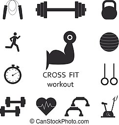 Vector Set of workout icons. Sport, fitness, gym workout -...